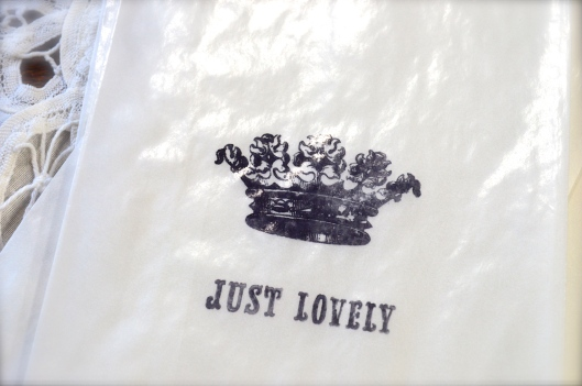 Just Lovely Crown, Hand Stamped Glassine Bags