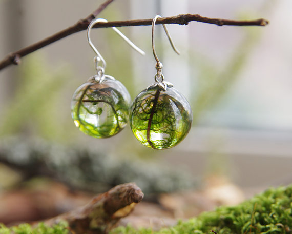 Real Moss Globe Earrings~ Ural Nature