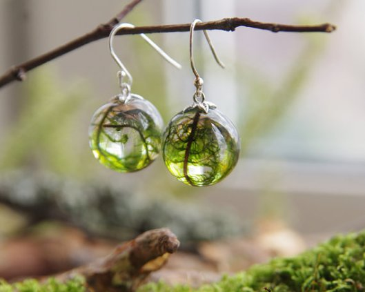 Real Moss Globe Earrings~ Ural Nature